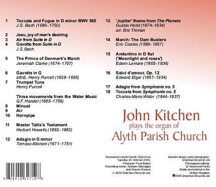 Playlist of 'John Kitchen plays the organ of Alyth Parish Church' CD - click on this image to listen to a sample of Track 1.