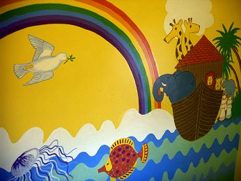 Our Noah mural on the staircase