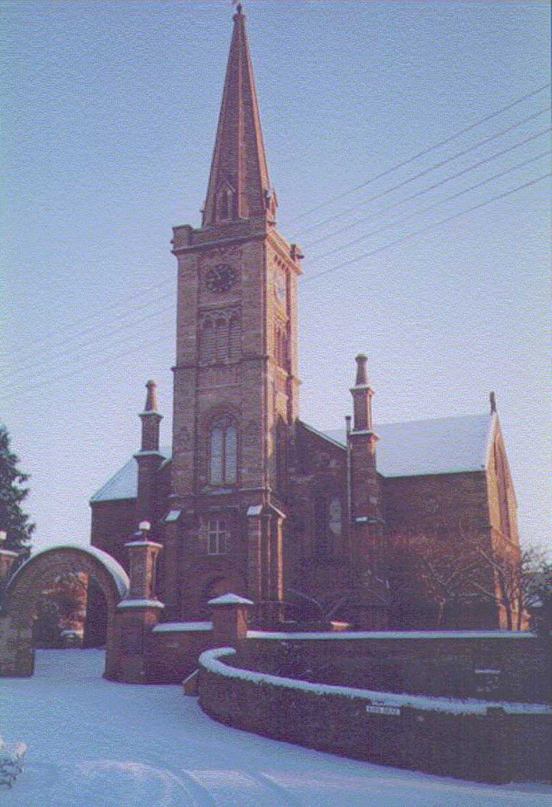 A snowy front entrance to Alyth Parish Church