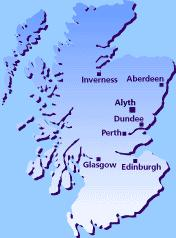 Scotland map showing Alyth's location